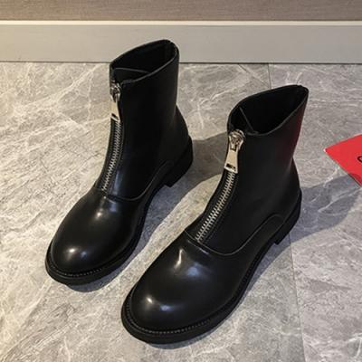 KEITH-WILL時尚鞋前拉鏈馬丁靴粗跟短靴-黑色