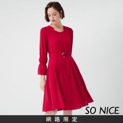 SO NICE優雅復古腰帶雪紡洋裝