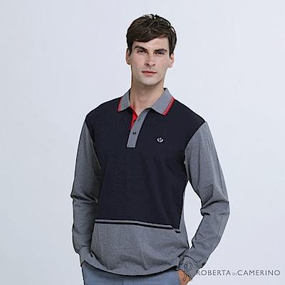 ROBERTA諾貝達 台灣製 潮流型男 撞色滾邊長袖POLO棉衫 深藍