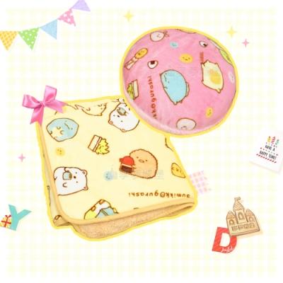 享夢城堡 法蘭絨羊羔絨毯+圓型抱枕-角落小夥伴 簡單生活-粉.黃