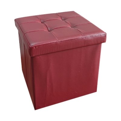 樂嫚妮 仿皮革收納凳/椅凳/收納箱/換季-38X38X38cm-紅