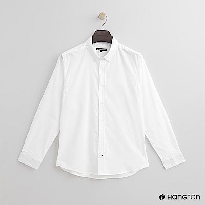 Hang Ten - 男裝 - 簡約純色棉質襯衫 - 白