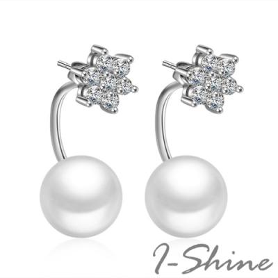 I-Shine-正白K-冬季雪花-韓國流線型垂墜雪花珍珠鑲鑽造型銀色耳針耳環DB47