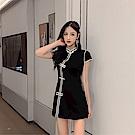 DABI 韓系改良旗袍式連身裙短褲時尚套裝短袖褲裝