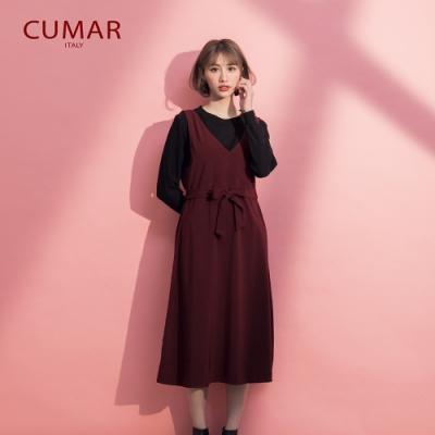 【CUMAR】紅酒無袖V領綁帶修身-洋裝(深紅色/版型合身)