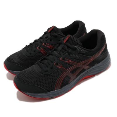 Asics 慢跑鞋 Gel-Contend 6 運動 男鞋 亞瑟士 路跑 耐磨 緩衝 入門 亞瑟膠 黑 紅 1011A667004