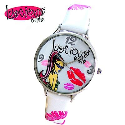 Luscious Girls浪漫少女 時尚耀動華麗個性風鑽錶(LG003E白)