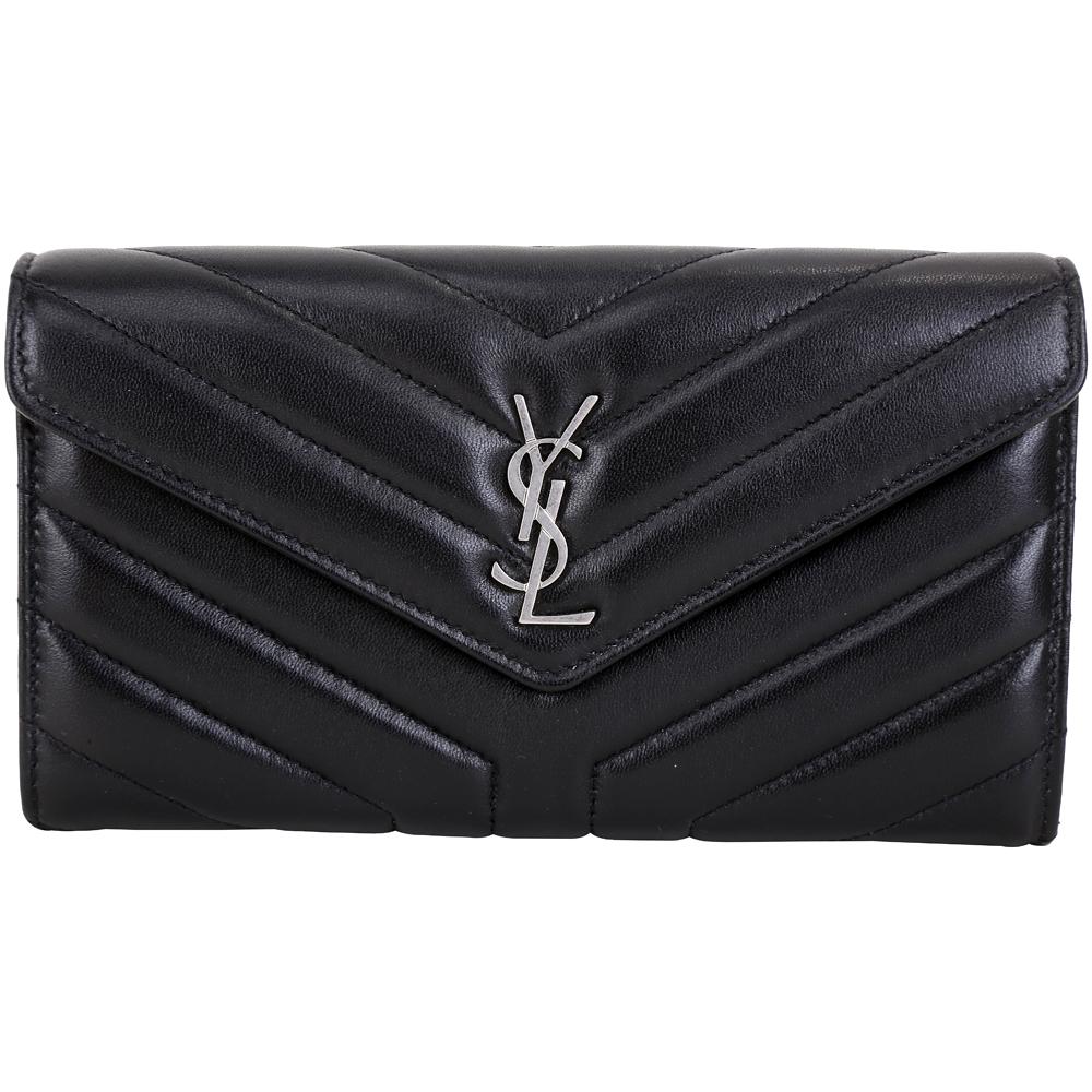 YSL Saint Laurent LOULOU Y字絎縫小羊皮信封長夾(黑色) @ Y!購物