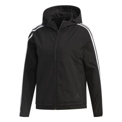 adidas 連帽外套 運動 休閒 健身 訓練 女款 黑 FN2262 3-Stripes Jacket