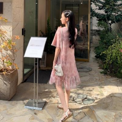 連身裙 圓領波點網紗短袖洋裝IG9122-創翊韓都