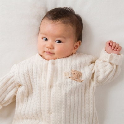 【Amorosa Mamma】有機棉嬰幼兒針織外套-小熊