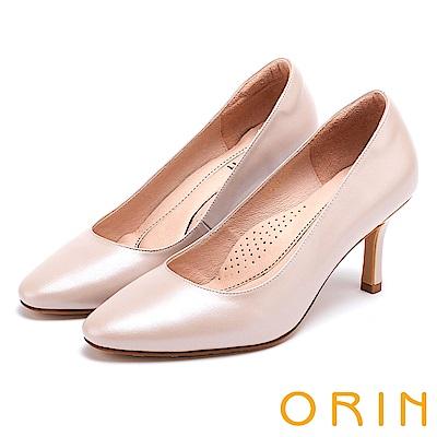 ORIN 時尚魅力 簡約剪裁素面真皮高跟鞋-粉紅
