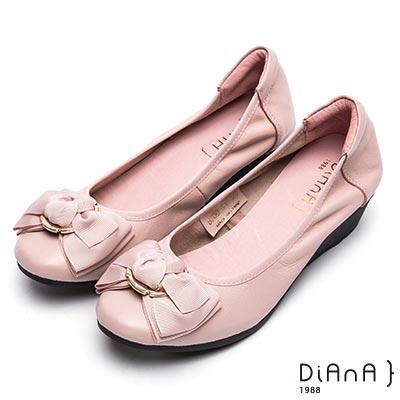 DIANA 甜漾迷人—圓形飾釦蝴蝶結娃娃鞋-粉