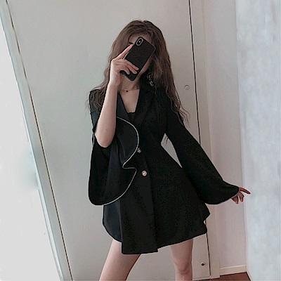 DABI 韓國風氣質優雅修身收腰西裝長袖洋裝