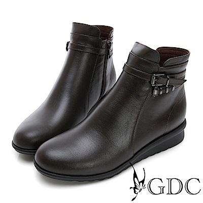 GDC-真皮質感基本款交叉素雅小短靴-咖色