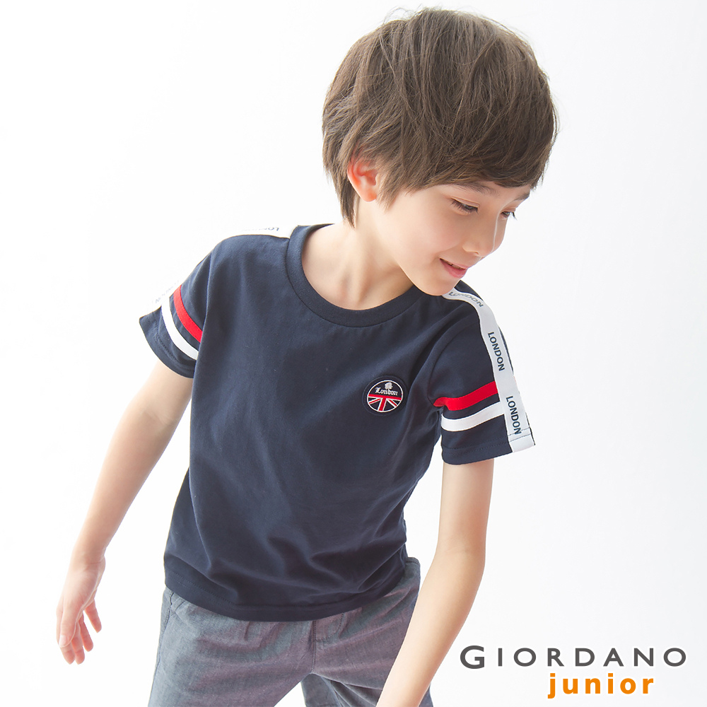 GIORDANO 童裝UNION JACK系列短袖T恤-17 標誌海軍藍