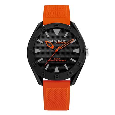 Superdry極度乾燥  街頭潮流運動矽膠腕錶-橘X黑(SYG243OB)