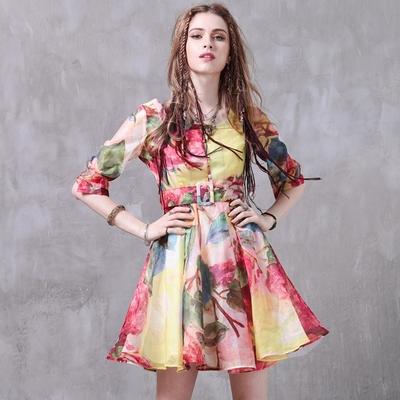 米蘭精品 連身裙短袖洋裝-歐根紗優雅印花大擺女裙子74ad38