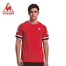 le coq sportif 法國公雞牌肩線拼接LOGO圓領短袖T恤 男-紅