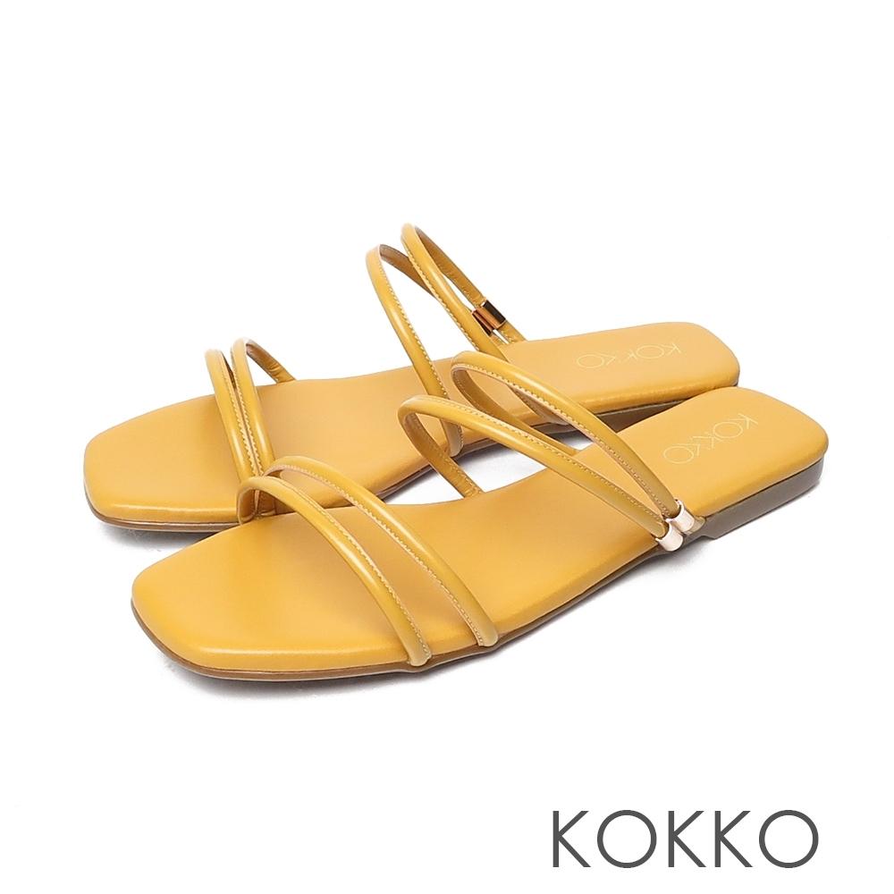 KOKKO方頭細帶平底2way小牛皮涼拖鞋奶酪黃