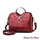 Aimer La Rue 凱莉絲金屬圓形提把鱷魚紋手提側背包(四色)