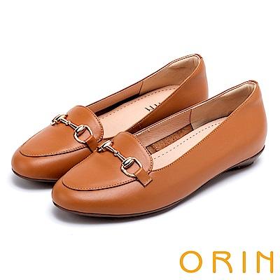 ORIN 氣質馬銜釦牛皮百搭 女 平底鞋 棕色