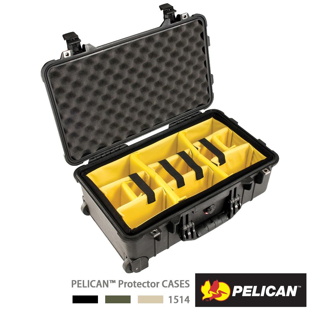 美國 PELICAN 1514 輪座拉桿氣密箱-含隔層(黑) │1510氣密箱