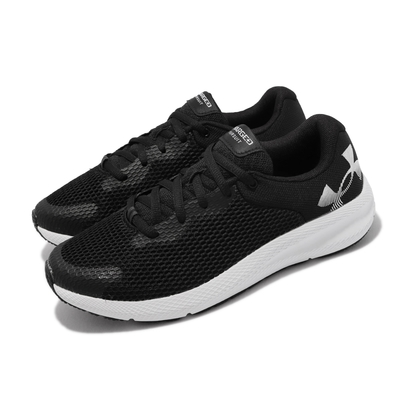 UA 慢跑鞋 Charged Pursuit 2 女鞋 透氣 舒適 貼合 緩震 回彈 耐磨 黑 白 3024143002