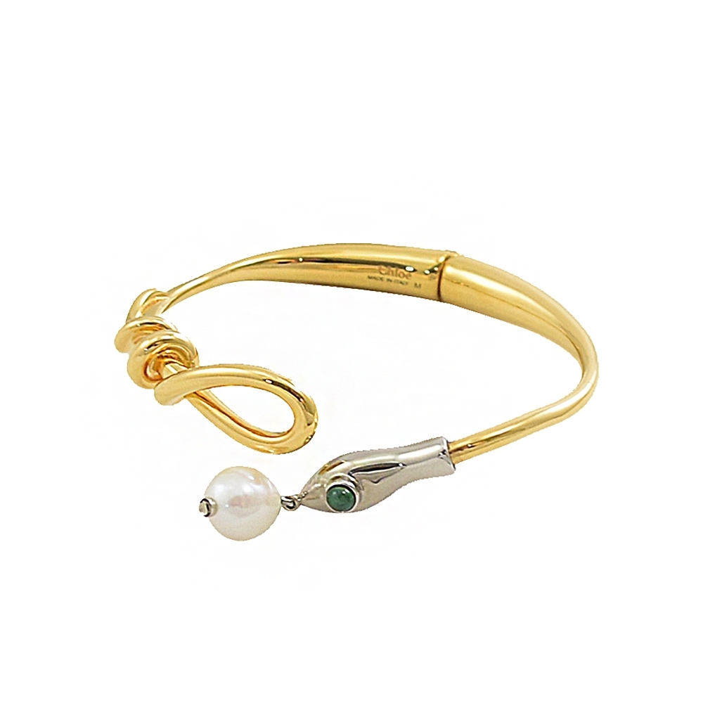 CHLOE 經典C LOGO造型珍珠垂墜手環(金)