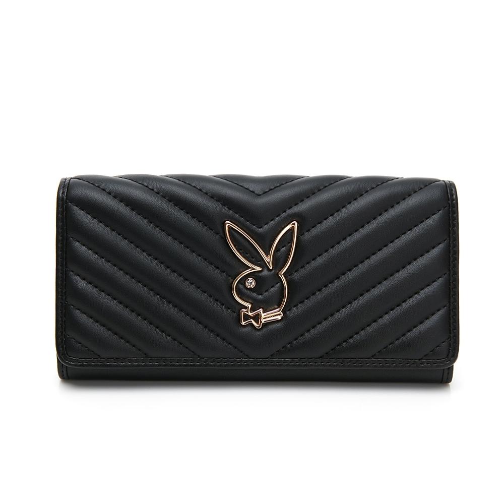 PLAYBOY-  壓扣長夾 摩登小兔系列 -黑色