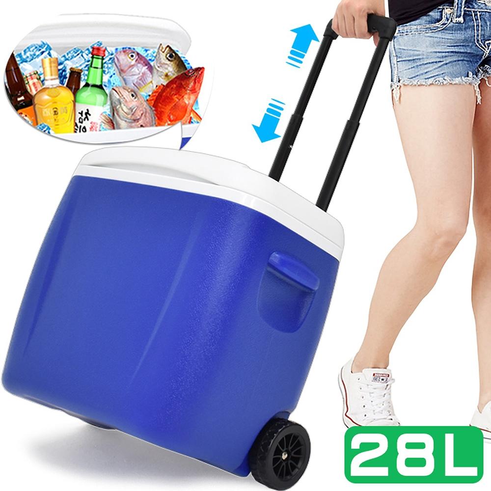 拖輪式拉桿28L冰桶 (28公升冰桶行動冰箱/保冷箱海釣魚冰桶子/外賣保冰桶保冷桶/保溫箱手推車/冰筒保溫桶冷藏箱)