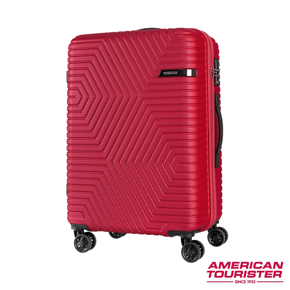 AT美國旅行者 25吋 ELLEN防刮耐磨幾何硬殼TSA行李箱(紅)