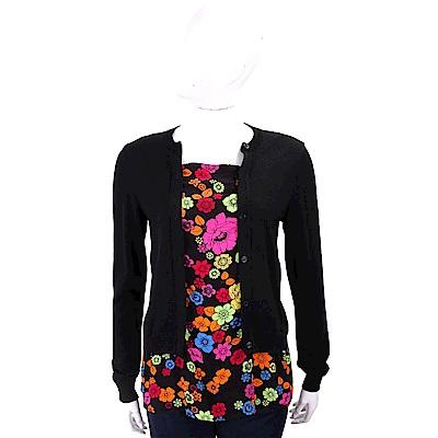 BOUTIQUE MOSCHINO 雪紡印花拼接黑色假兩件羊毛衫