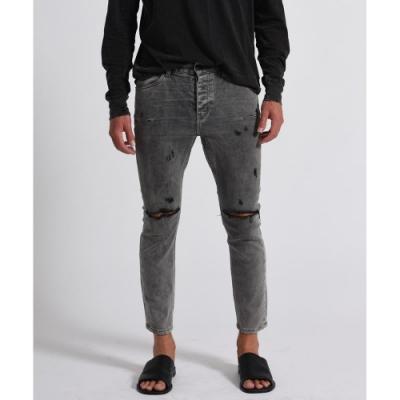 ONETEASPOON 小直筒牛仔褲 破褲 -男