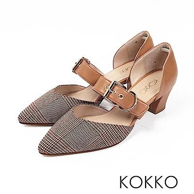 KOKKO - 艾菲爾鐵塔手工飾帶撞色粗跟鞋-格紋咖