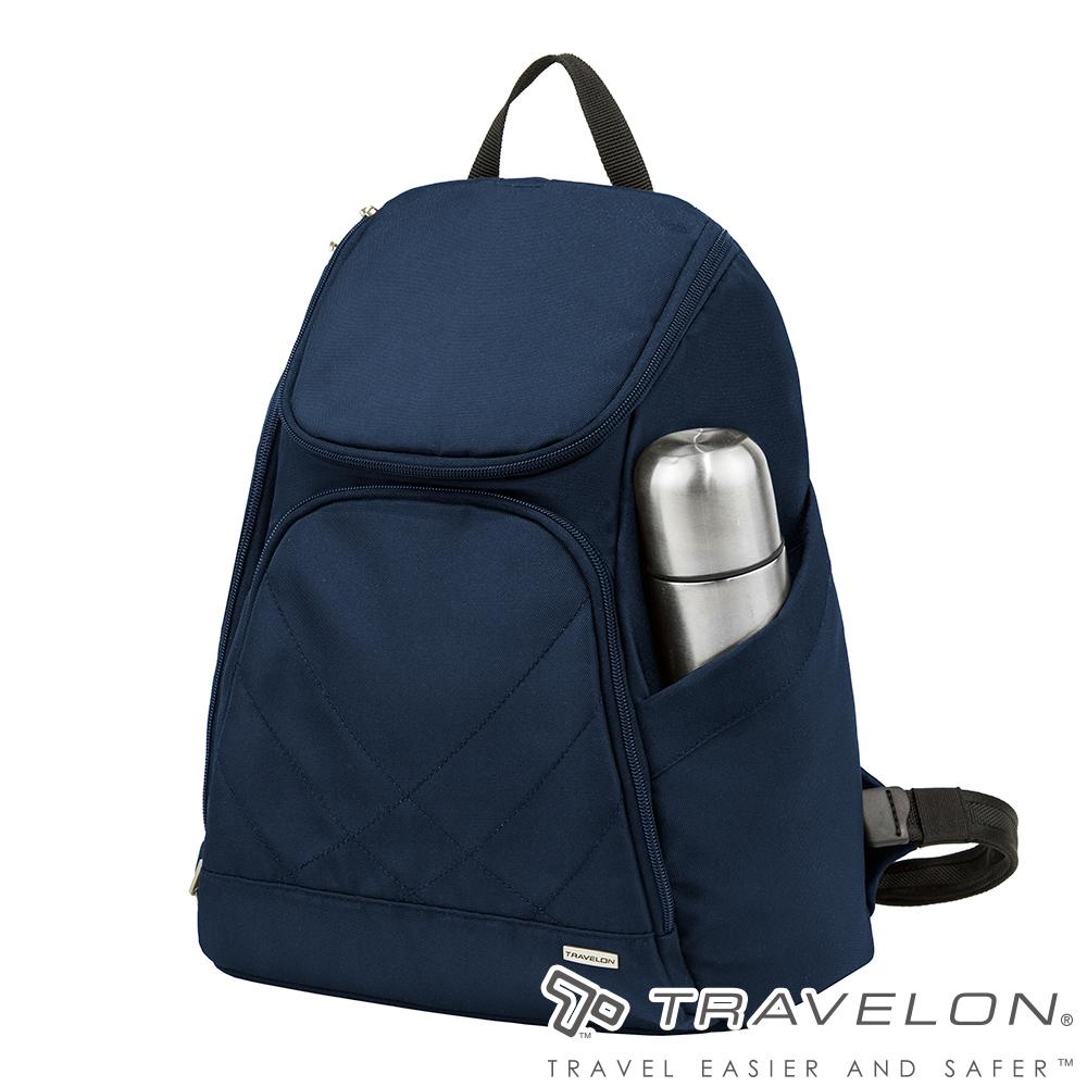 Travelon美國防盜包 簡單素面風格經典雙肩後背包(TL-42310-15 深藍)