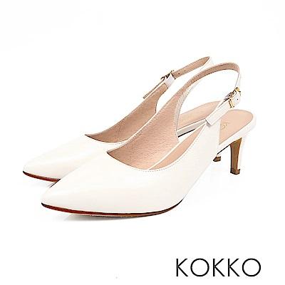 KOKKO - 花開燦爛後拉帶純色尖頭高跟鞋-雛菊白