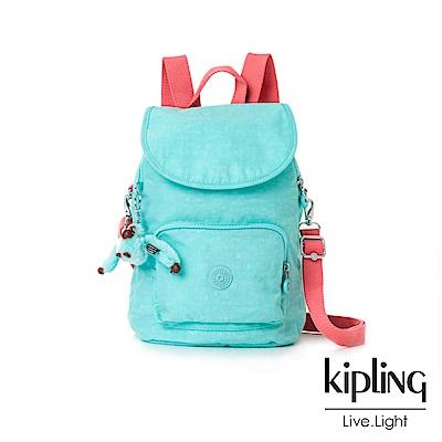 Kipling亮綠撞色掀蓋後背包