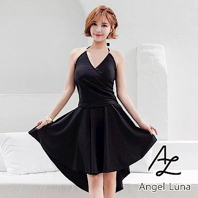 【AngelLuna日本泳裝】黑色長裙三件式溫泉沙灘泳衣