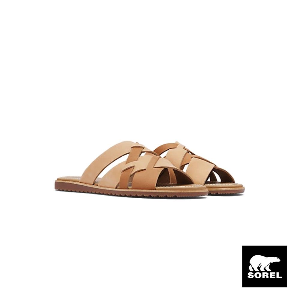SOREL-女款ELLA雙色編織拖鞋-駝色