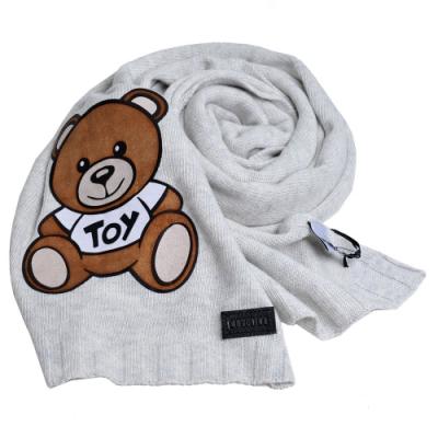 MOSCHINO 義大利製混喀什米爾大熊TOY圖騰針織圍巾(淺灰色)