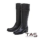 TAS 交叉金屬皮帶扣素面壓紋牛皮長靴-簡約黑