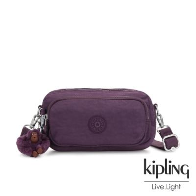 Kipling 低調奢華深紫色雙拉鍊方形側背腰包-AKPA