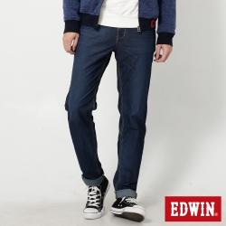 EDWIN 迦績褲JERSEYS紅黑格腰頭AB牛仔褲-男-拔洗藍