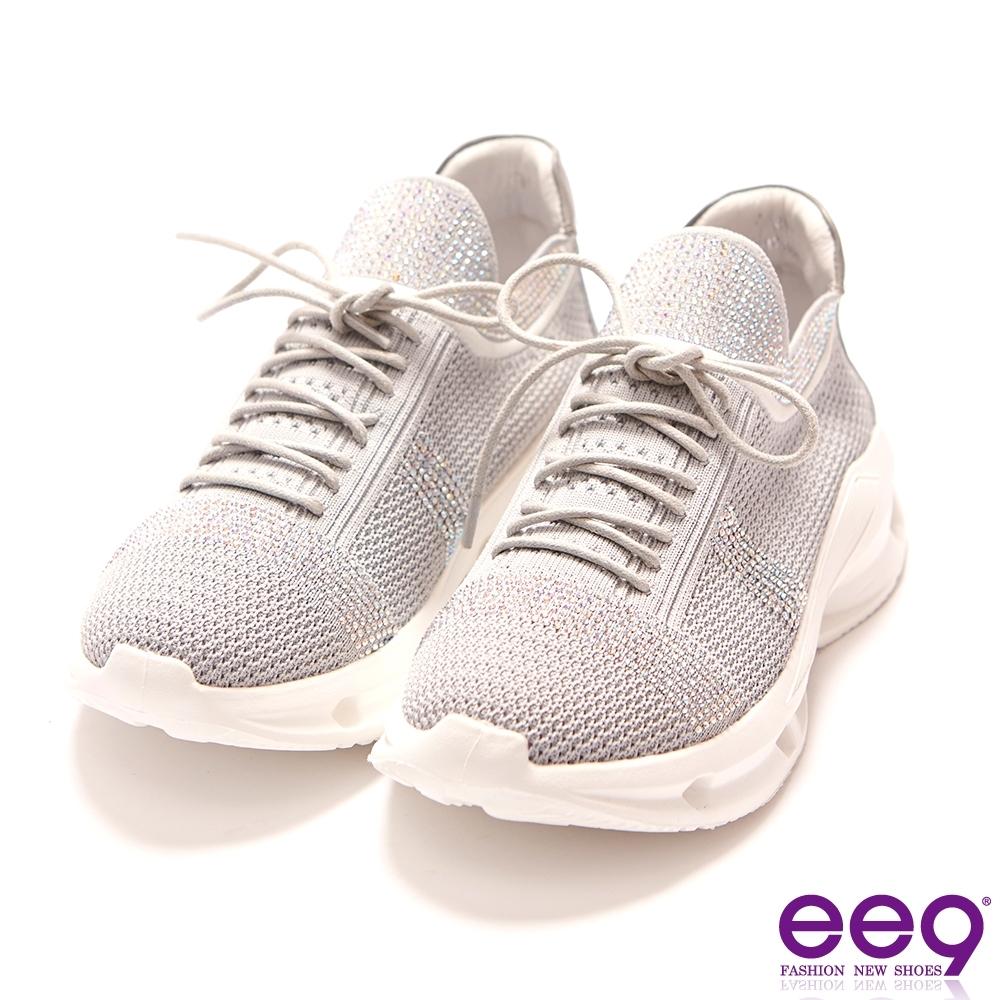 ee9 柔軟自在鑲嵌亮鑽厚底運動休閒鞋 灰色-5281728 16