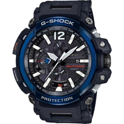 G-SHOCK 飛行員世界六局電波數位雙顯錶-黑X寶藍(GPW-2000-1A2)/34mm