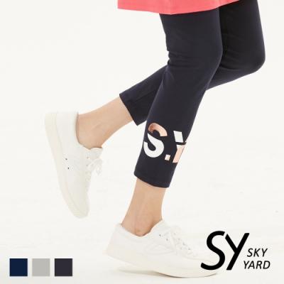 【SKY YARD 天空花園】彈性撞色字體印花內搭褲-黑色