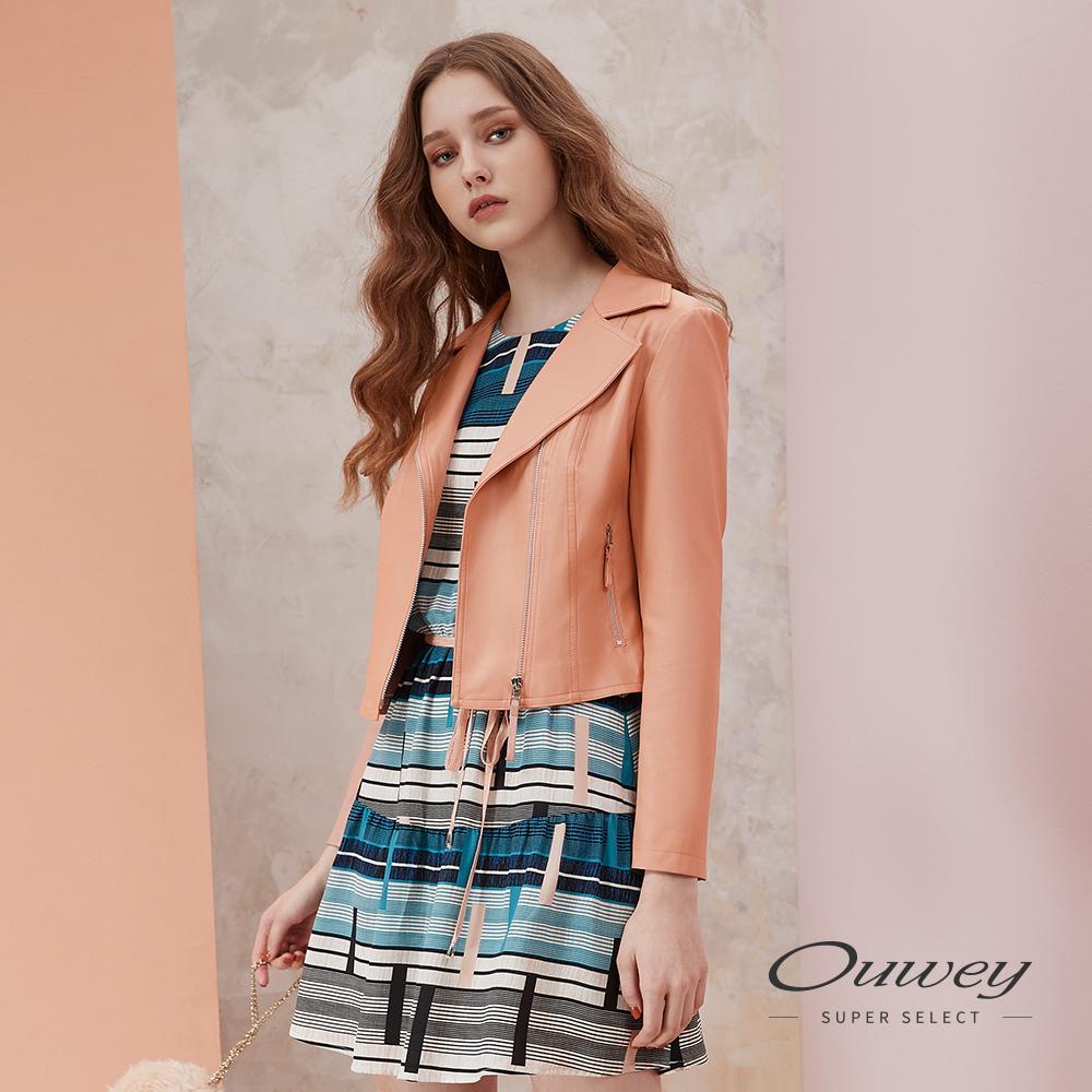 OUWEY歐薇 甜美騎士風仿皮短版外套(粉)