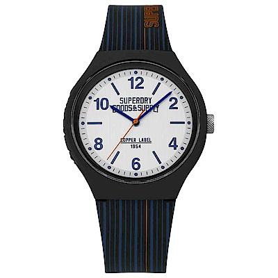 Superdry極度乾燥 Urban潮流時尚手錶-白X藍/43mm