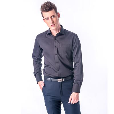 【金安德森】黑底白點黑領窄版長袖襯衫